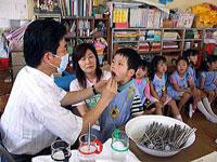 親子歯ブラシ教室の様子